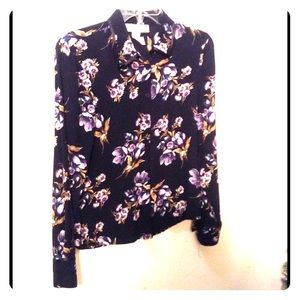 BEAUTIFUL FLORAL ON BLACK SILK BLOUSE